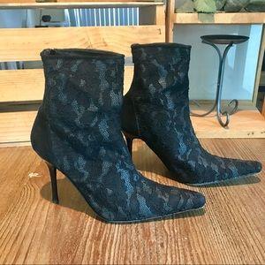 Bebe black lace stiletto zipper back ankle booties